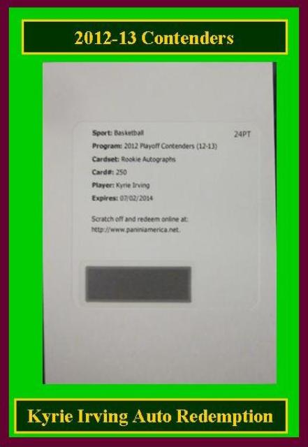 4 17 15 Barbara Kyrie 2012 13 Contenders Kyrie Irving RC Auto Redemption