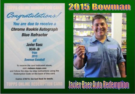 4 30 15 Jorge Baez 2015 Bowman Chrome RC Auto Blue Refractor Javier Baez Redemption