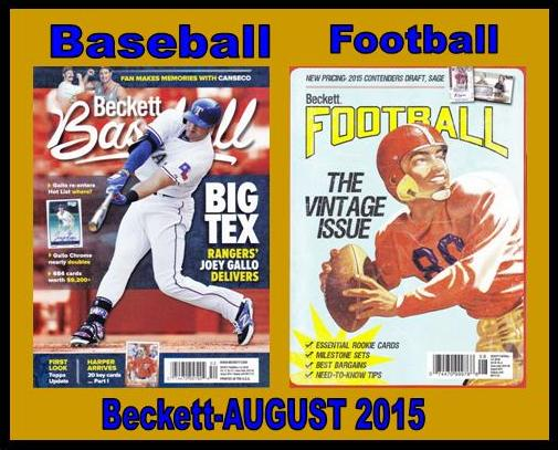6 30 15 BB Fb New Baseball and Football Monthly Becketts   August 2015