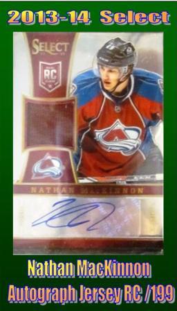 7 29 15 JORGE MacKinnon 2013 14 Select Nathan MacKinnon Autograph Jersey Rookie 32/199