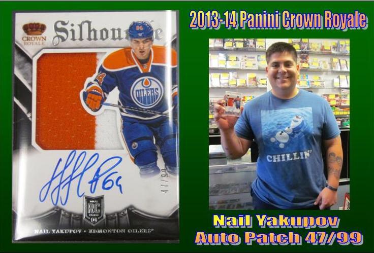 9 22 15 Jorge Yakupov 2013 14 Panini Crown Royale Nail Yakupov Auto Patch 47/99