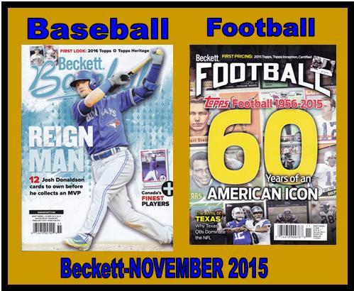 9 28 15 BB Fb New Baseball and Football Monthly Becketts – November 2015