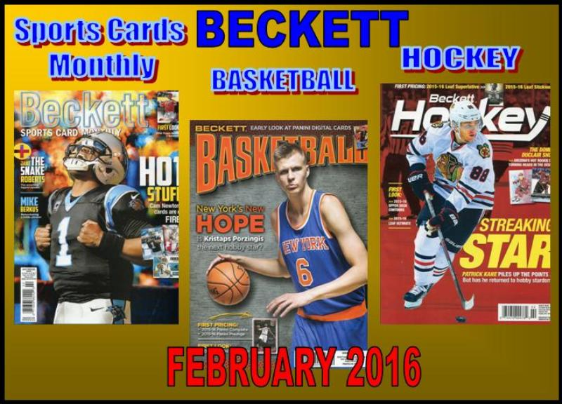 1 12 16 SCM BK HK New Sports Cards Monthly, Basketball, Hockey Monthly Becketts – February 2016